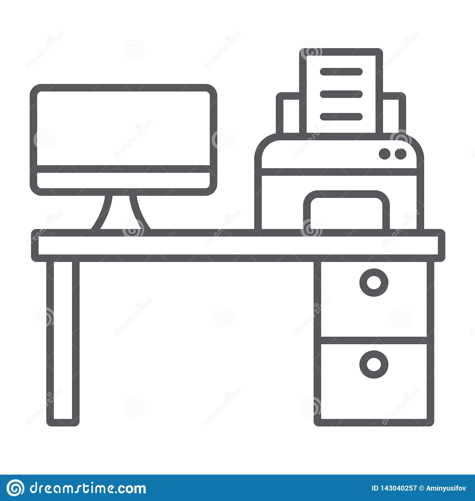 - Computer Desk Thin Line Icon, Office And Table, Workplace Sign