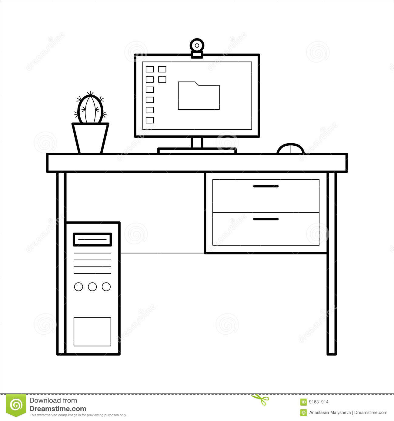 Line Drawing Table : Computer desk thin line style stock vector