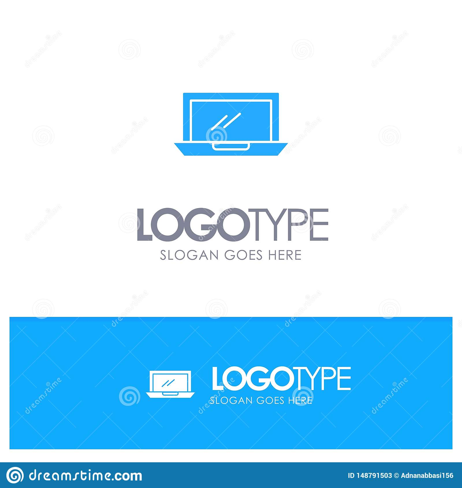 Computer, Desktop, Device, Hardware, Pc Blue Solid Logo with place for tagline