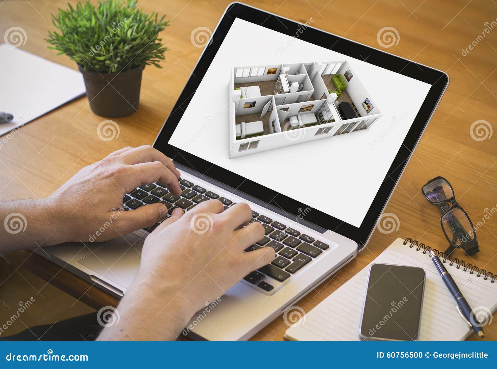 Computer Desktop Interior Disign Stock Photo