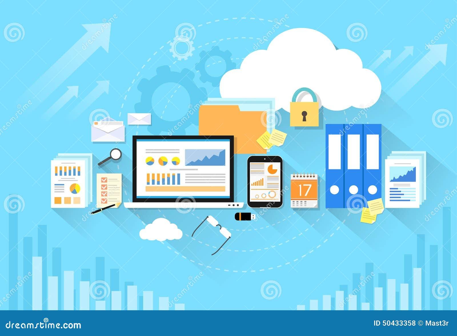 Computer Device Data Cloud Storage Security Flat Stock