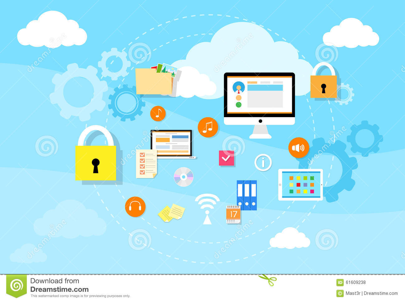 computer device data cloud storage security stock vector