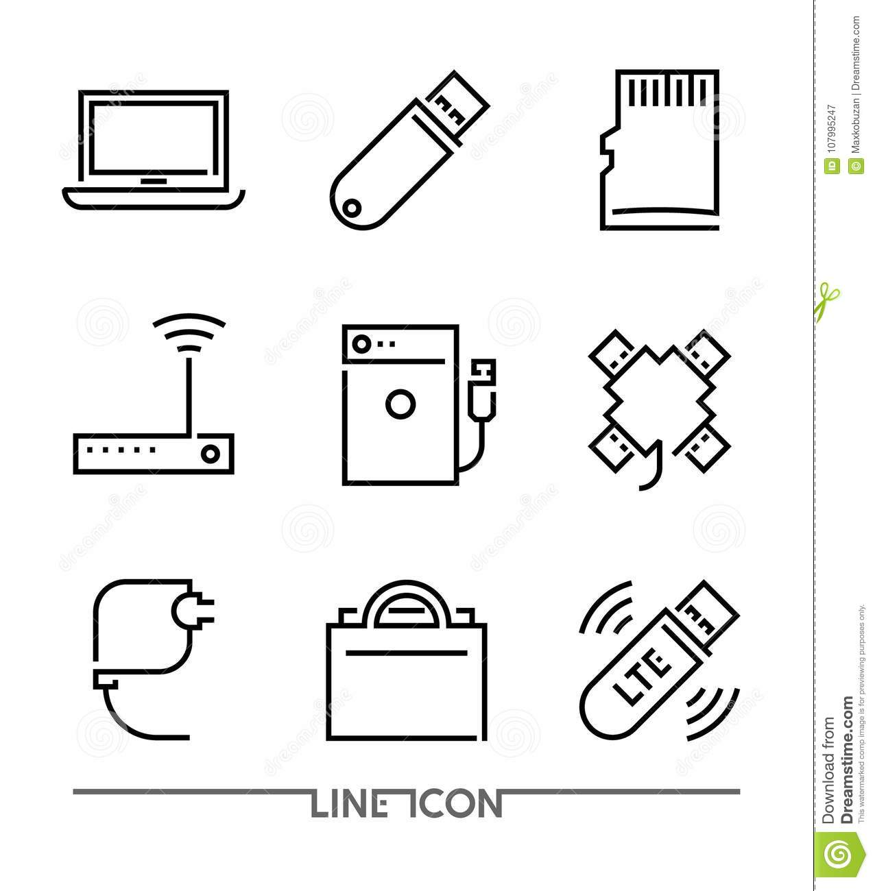 Computer devices Icons. PC Accessories thin line vector