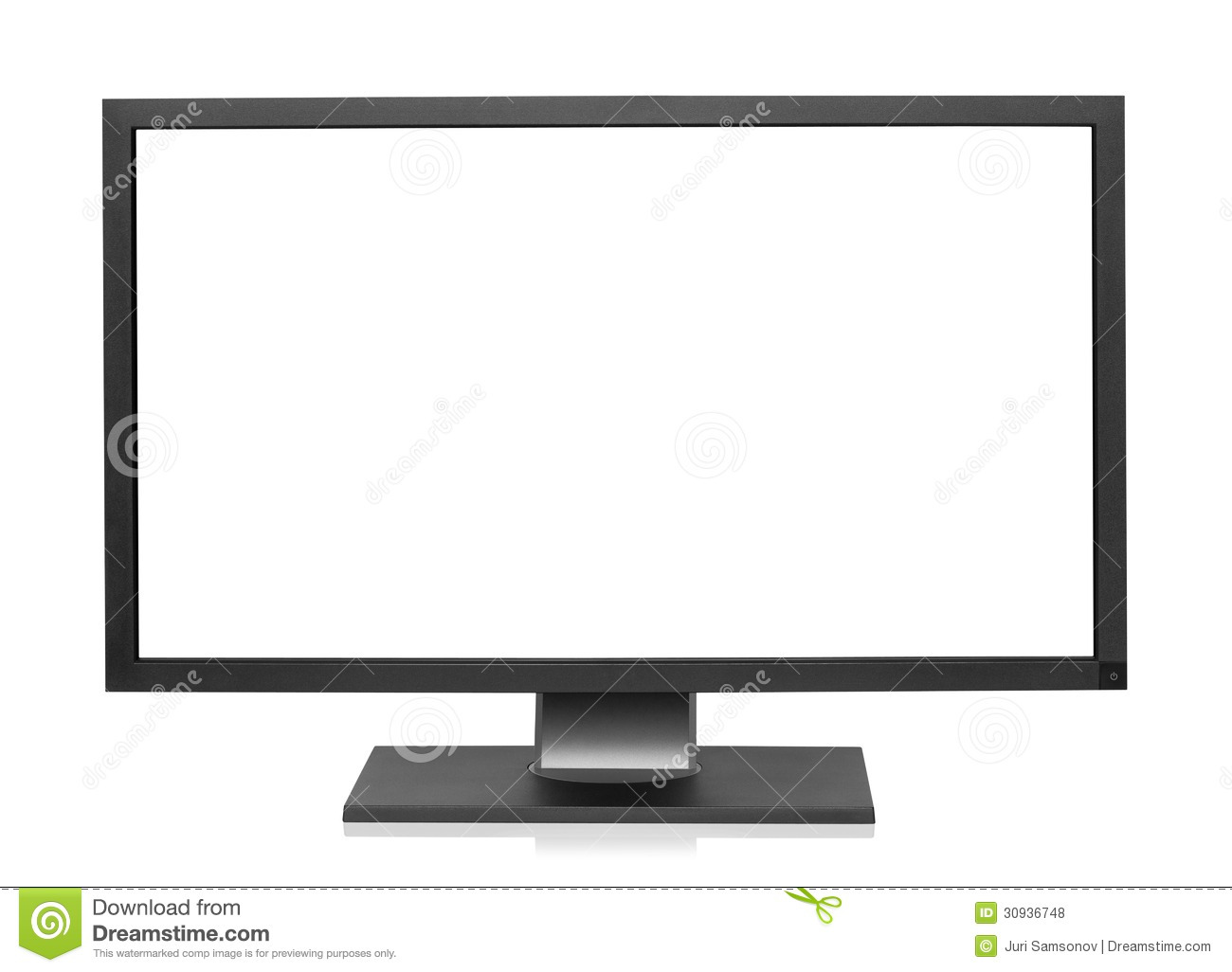 Computer display with blank white screen.