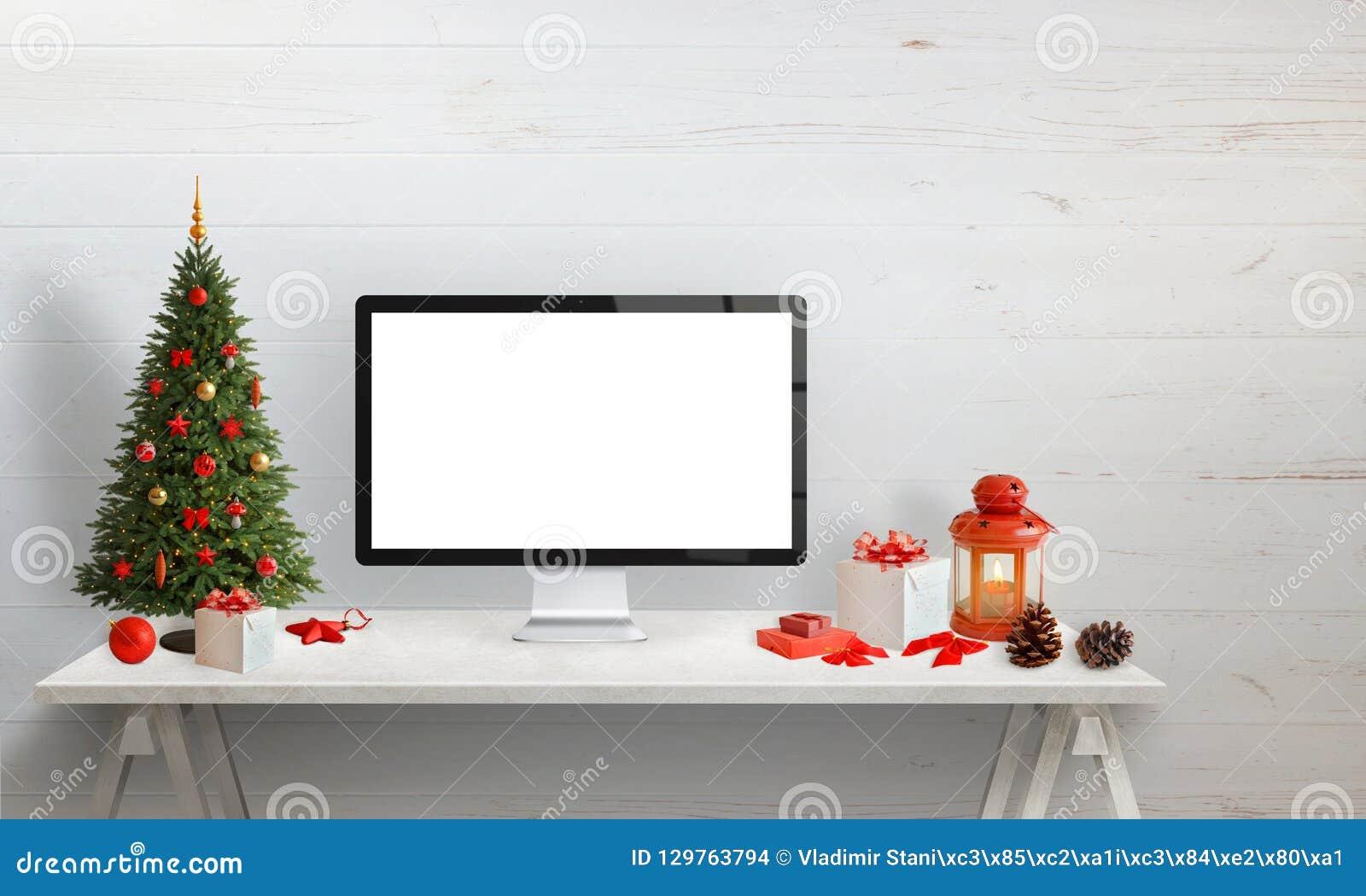 computer display mockup for web site presentation or christmas