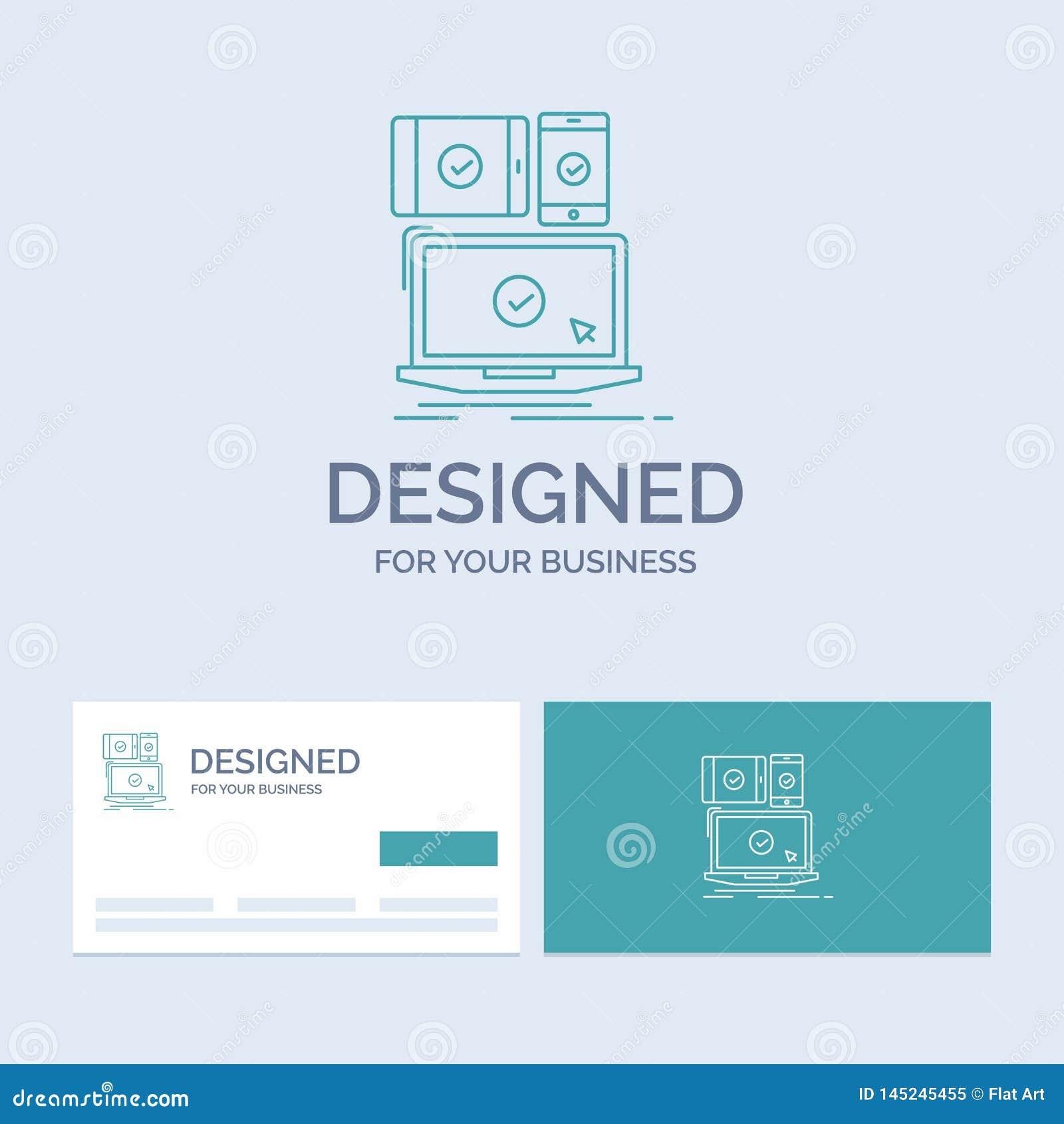 Computer, dispositivi, mobile, rispondenti, affare Logo Line Icon Symbol di tecnologia per il vostro affare Biglietti da visita d