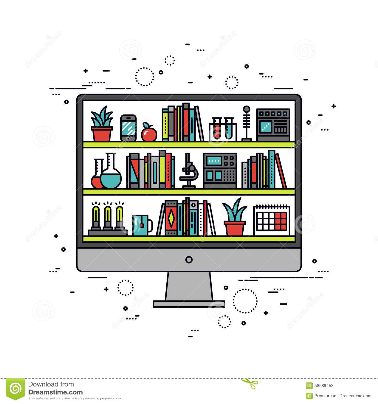 Computer Education Line Style Illustration Stock Vector