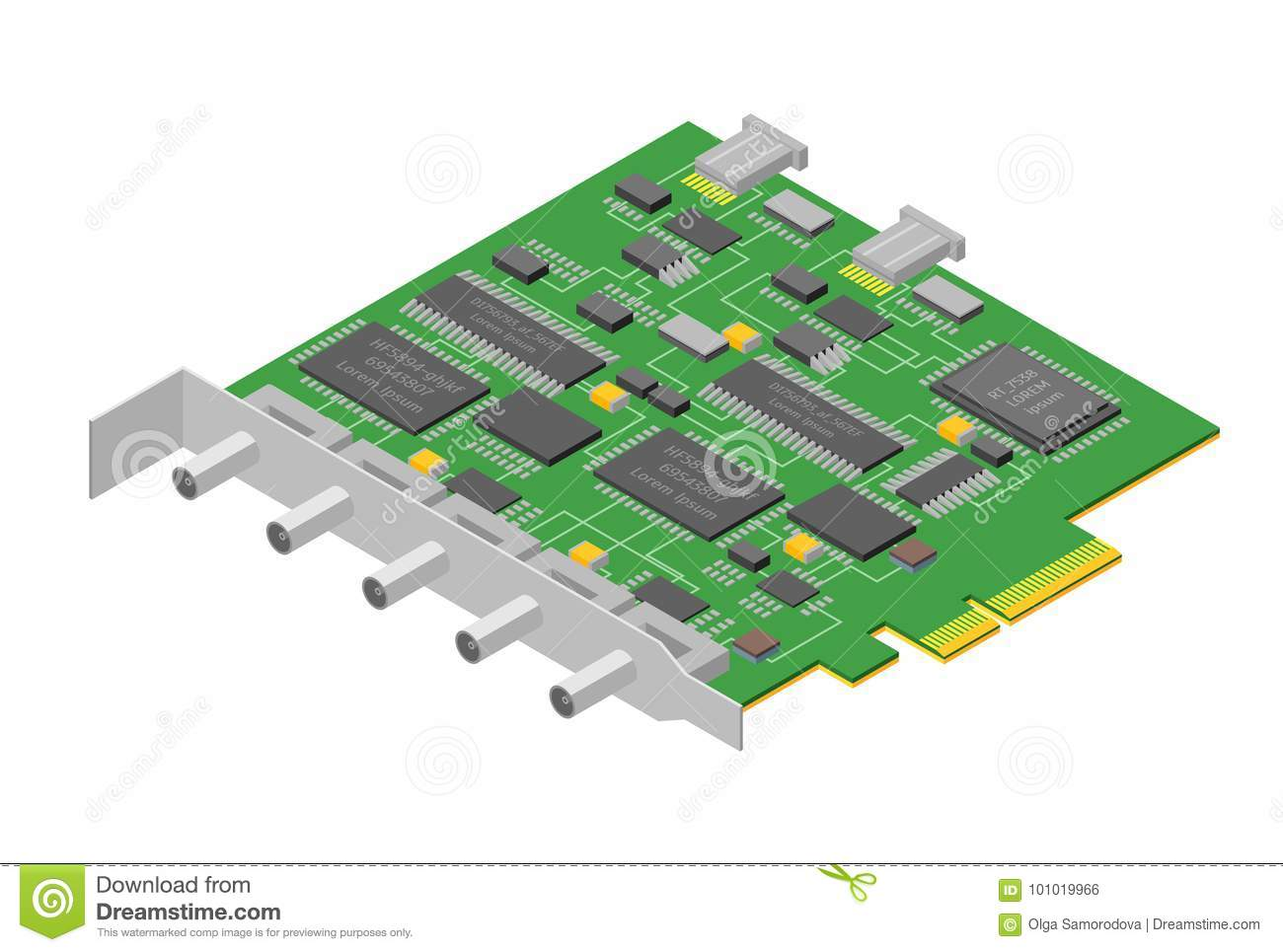 Computer Electronic Circuit Board Component Pc Isometric View Boards With Clock Hands Royalty Free Stock Image Vector