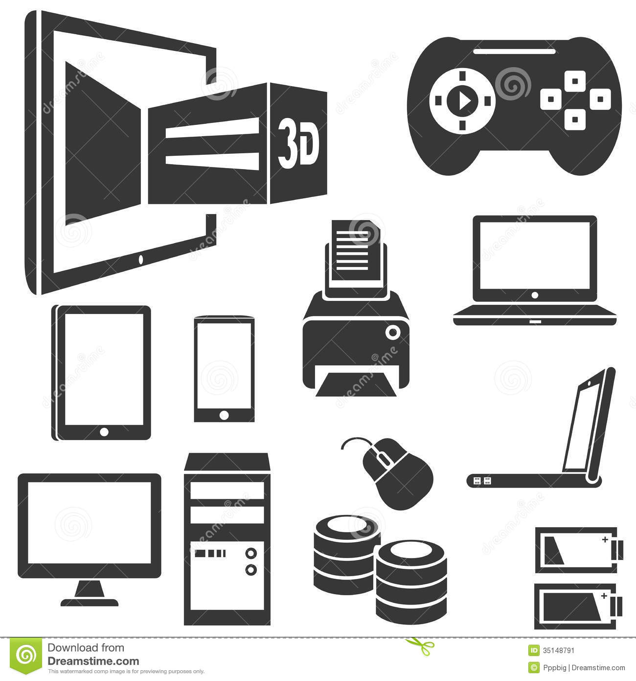 computer and electronic device stock vector