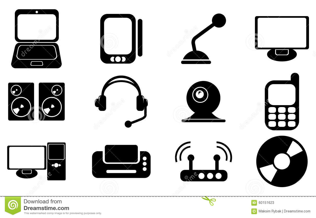 Computer, Electronic Device, Tv And Media Vector Icons ...