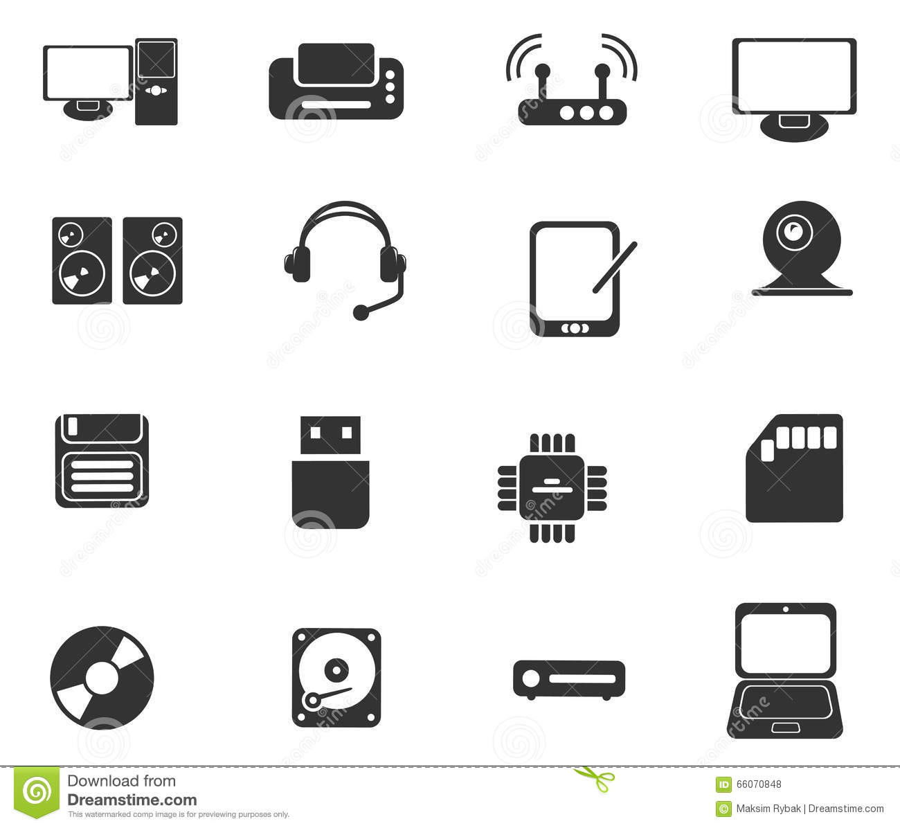 Computer Equipment Simple Vector Icons Stock Vector Illustration