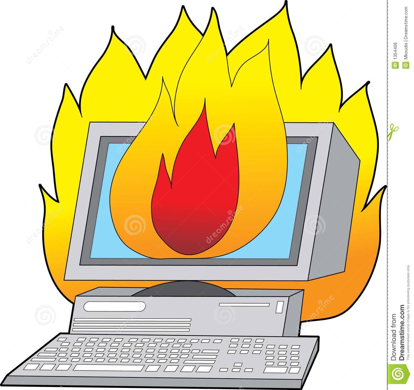 Computer On Fire Royalty Free Stock Image - Image: 1354406