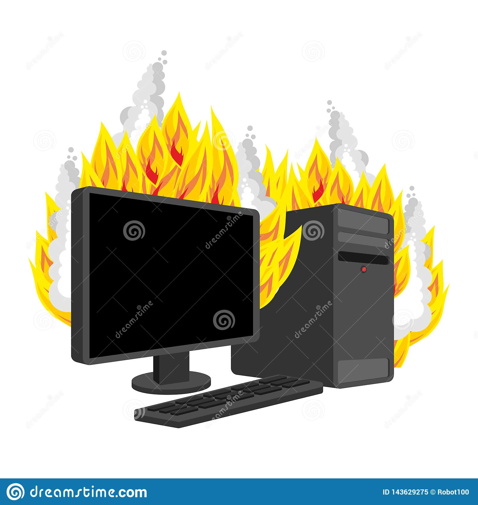 Computer Fire isolated. burning Computer. data processor Vector