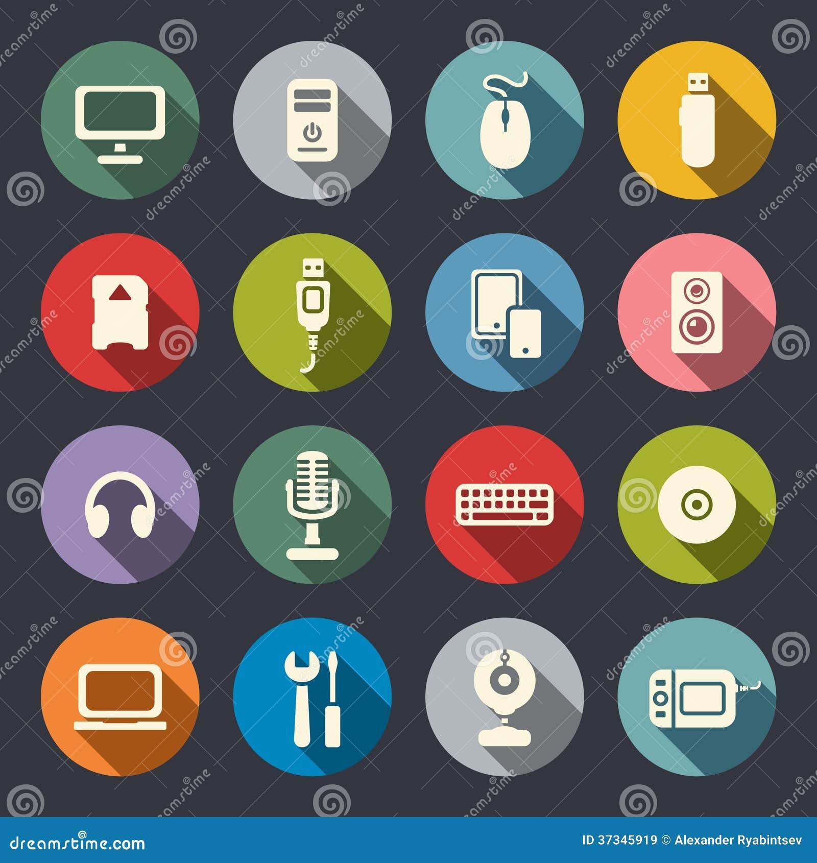 Computer flat icons set