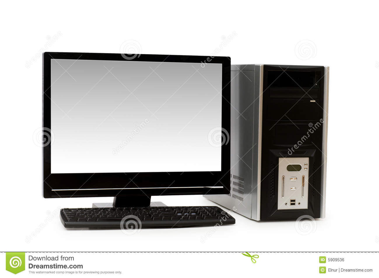 Royalty free stock image computer with flat screen isolated