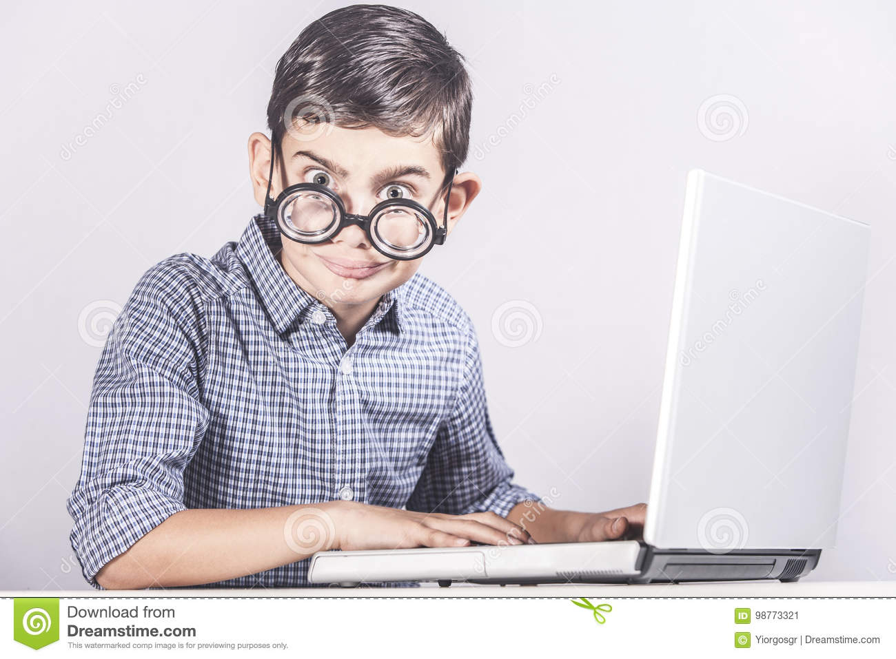 Computer Nerd Stock Image Image Of Hilarious Cute Face 98773321