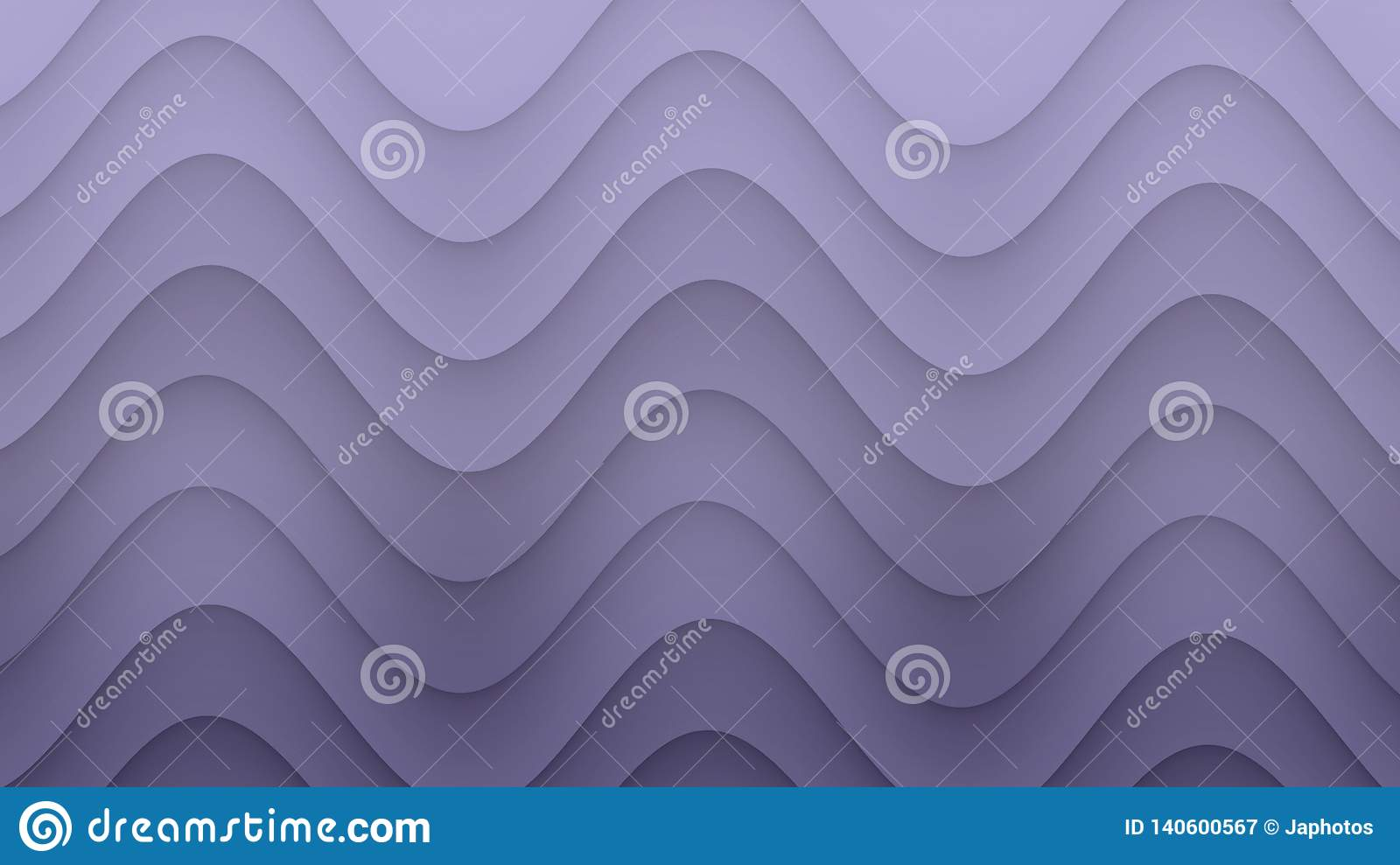 Smooth rolling curves abstract background illustration in gradient shades of lilac purple