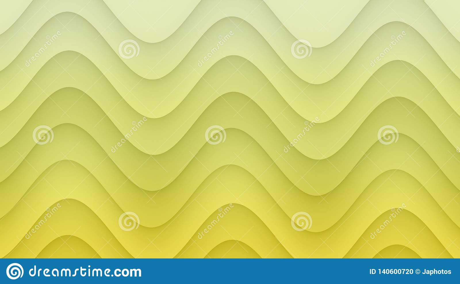 Smooth rolling curves abstract background illustration in gradient shades of sunny yellow