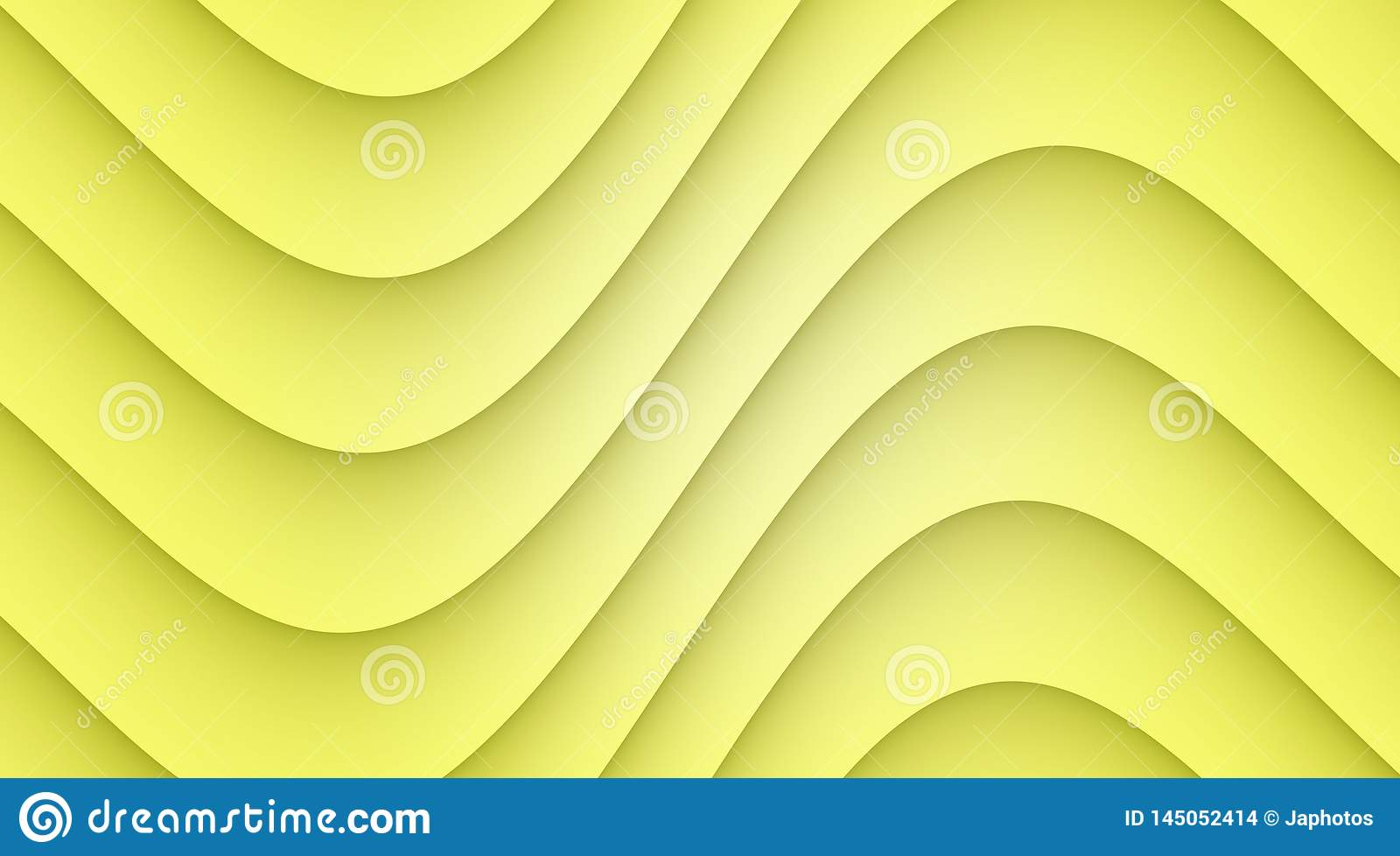 Lemon Yellow Smooth Symmetric Curves Abstract Wallpaper Background