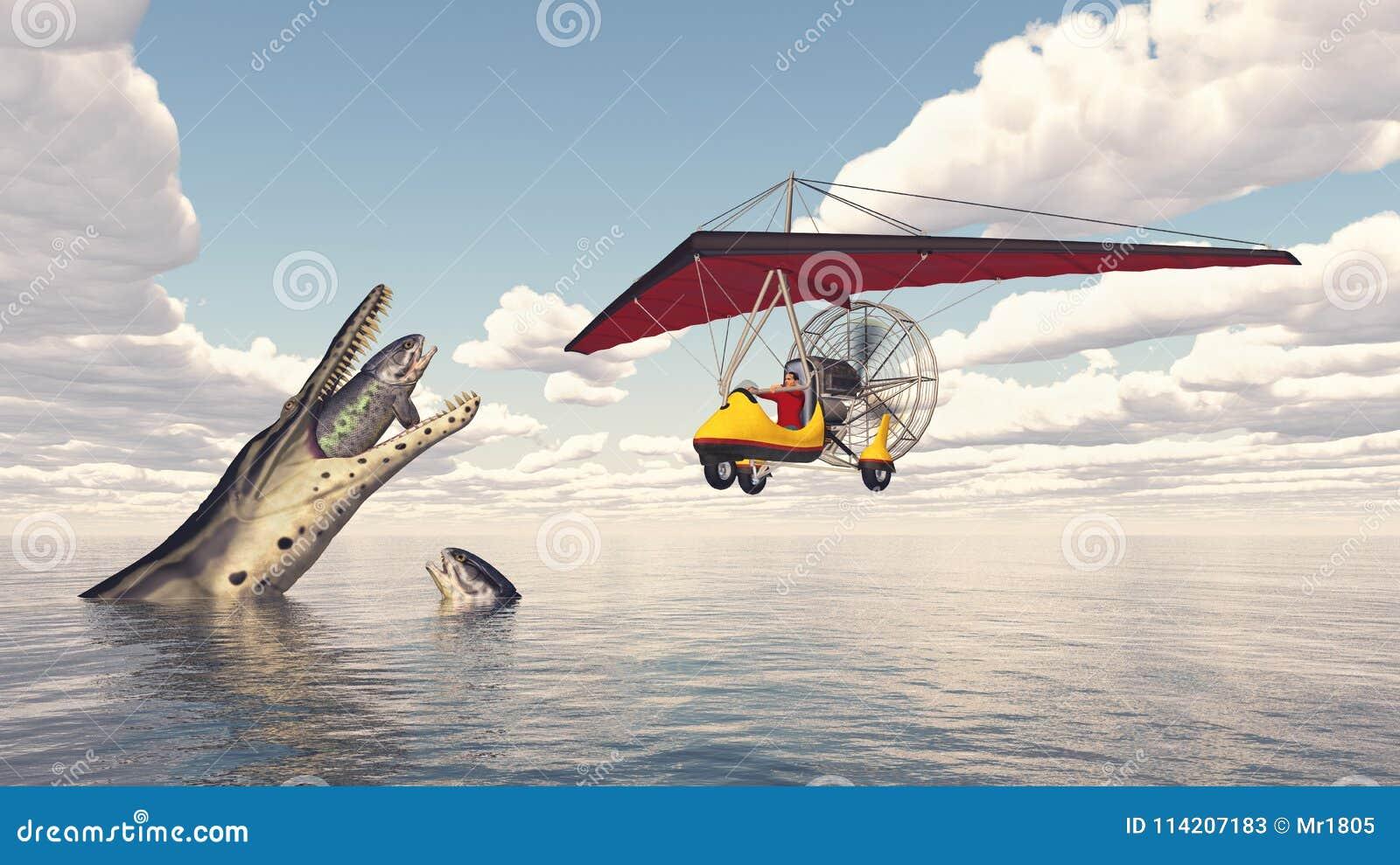 Ultralight Trike Over The Sea And Prehistoric Marine Reptile