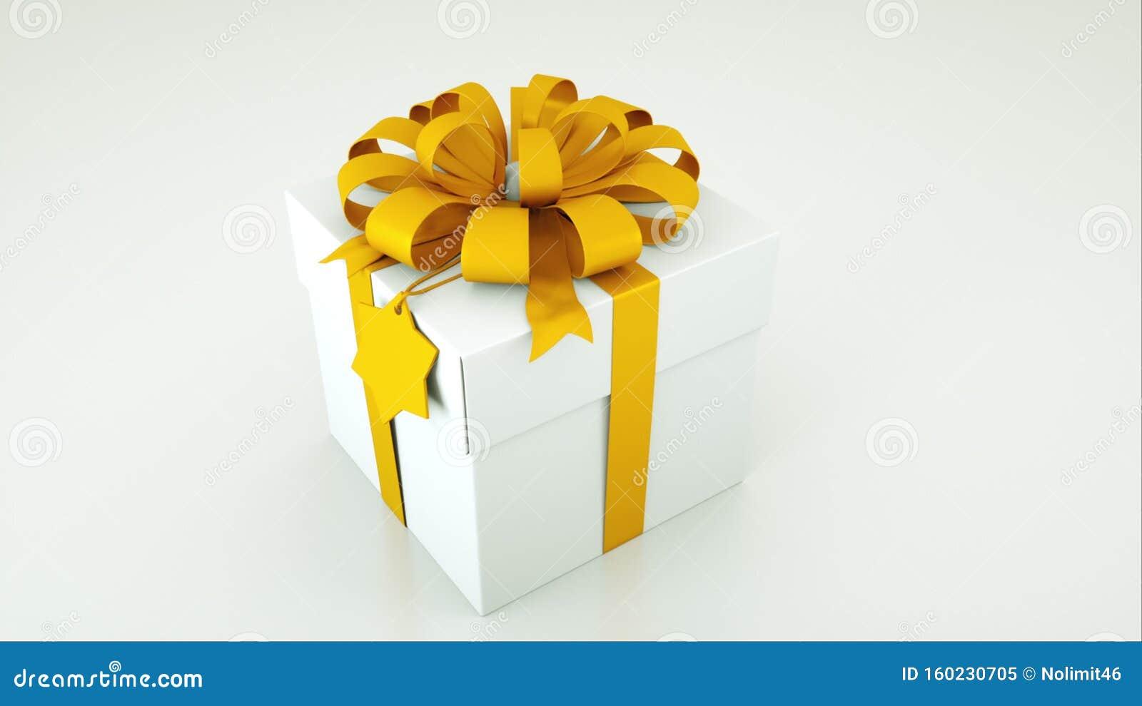 Computer genereerde afbeelding van witte cadeaudoos met gouden boog en tag geïsoleerd op witte achtergrond 3D-rendering