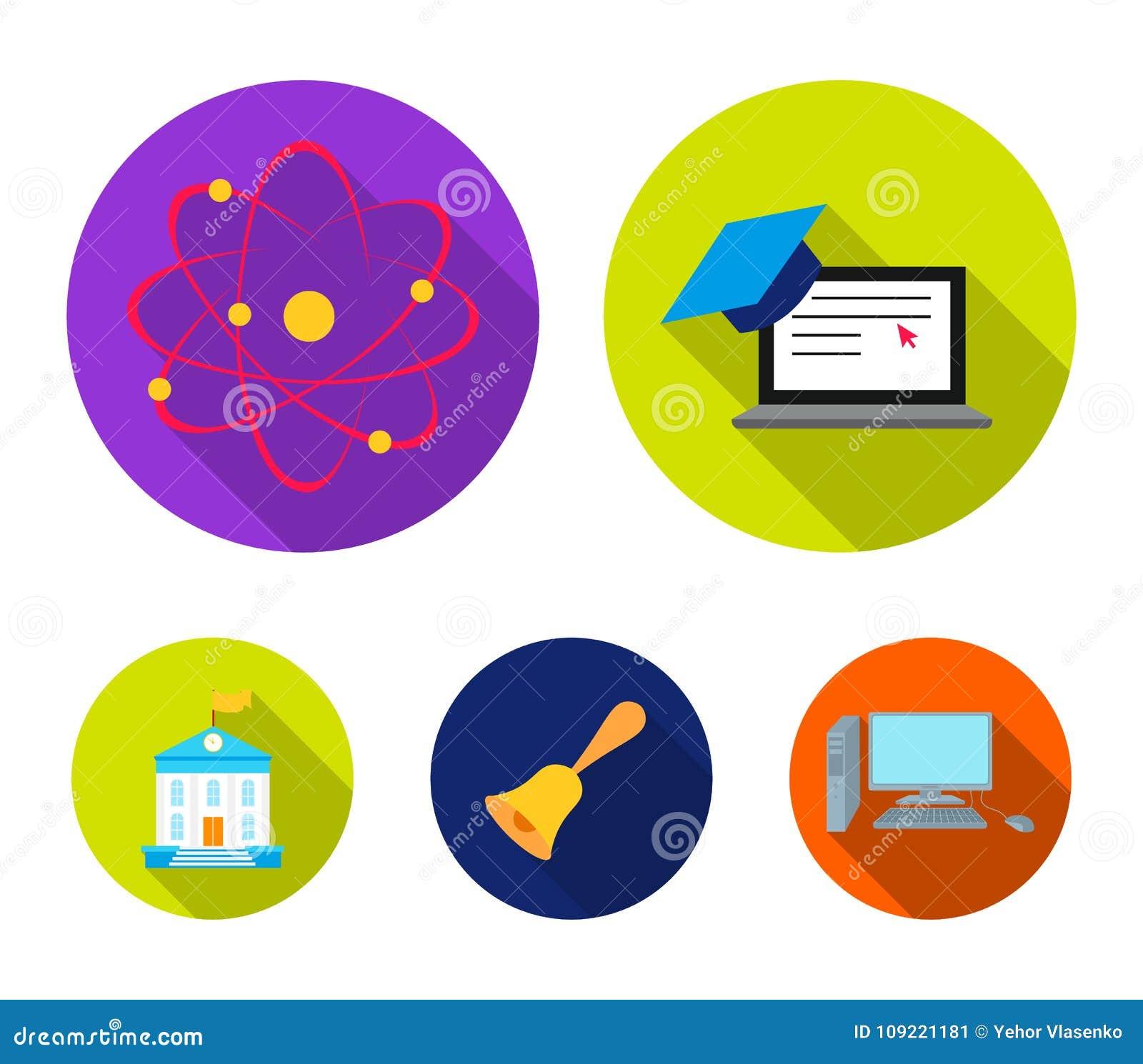 Computer, GLB, atoom, kern, klok, de universitaire bouw Pictogrammen van de school de vastgestelde inzameling in de vlakke voorra
