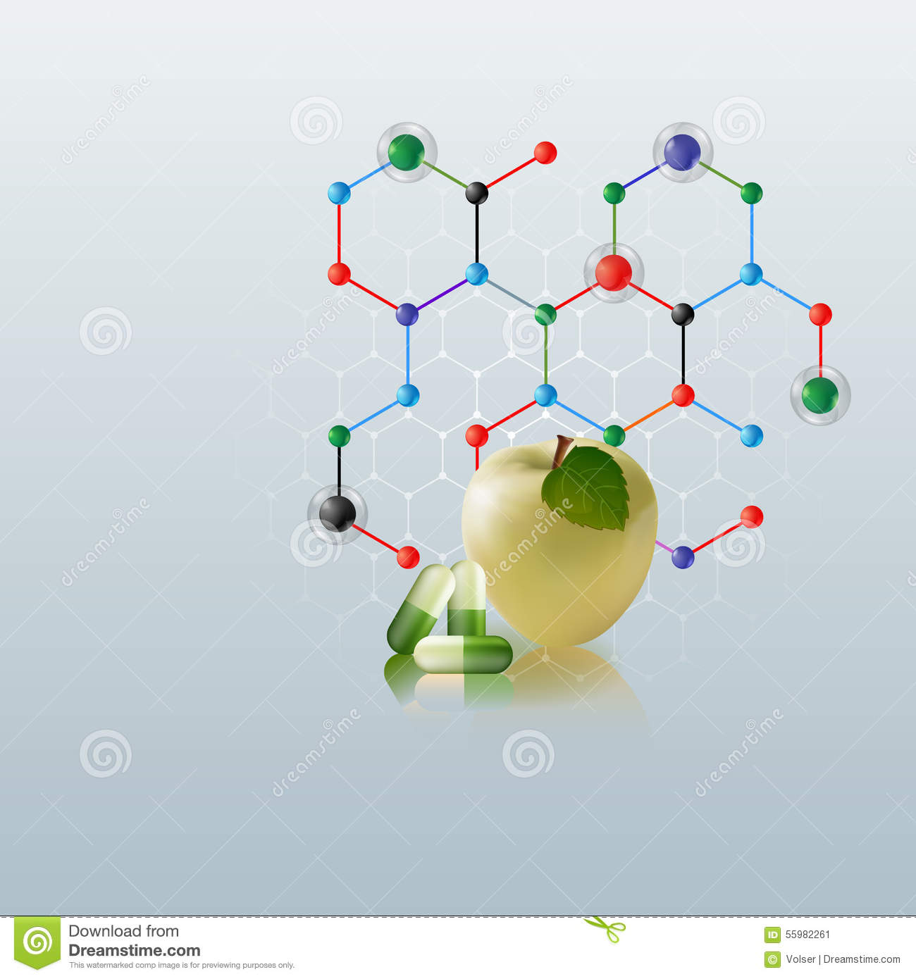 computer graphic  template health care background with apple and green pills stock vector
