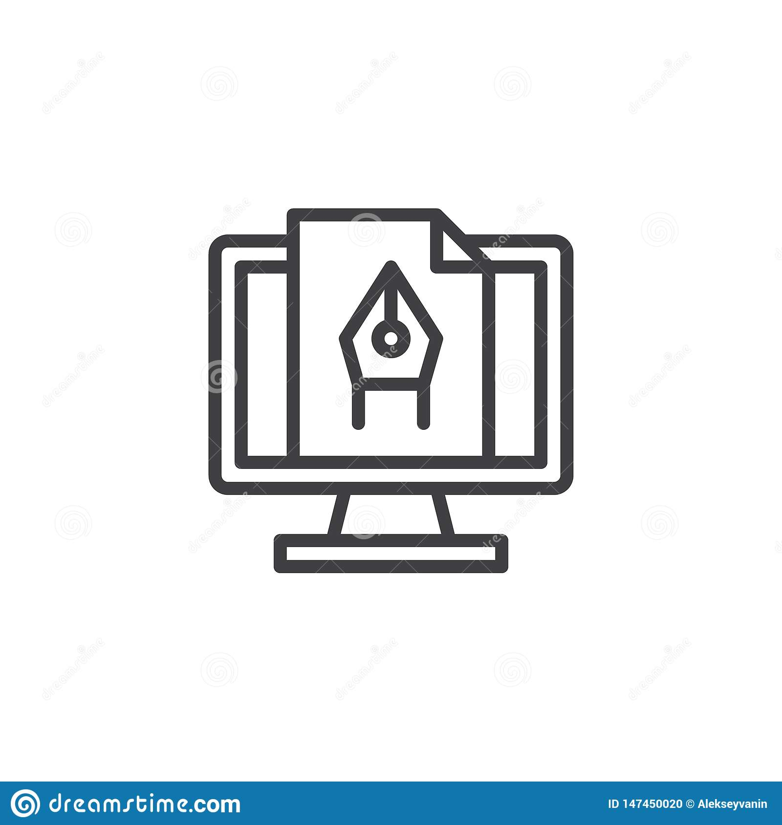 Computer graphics line icon
