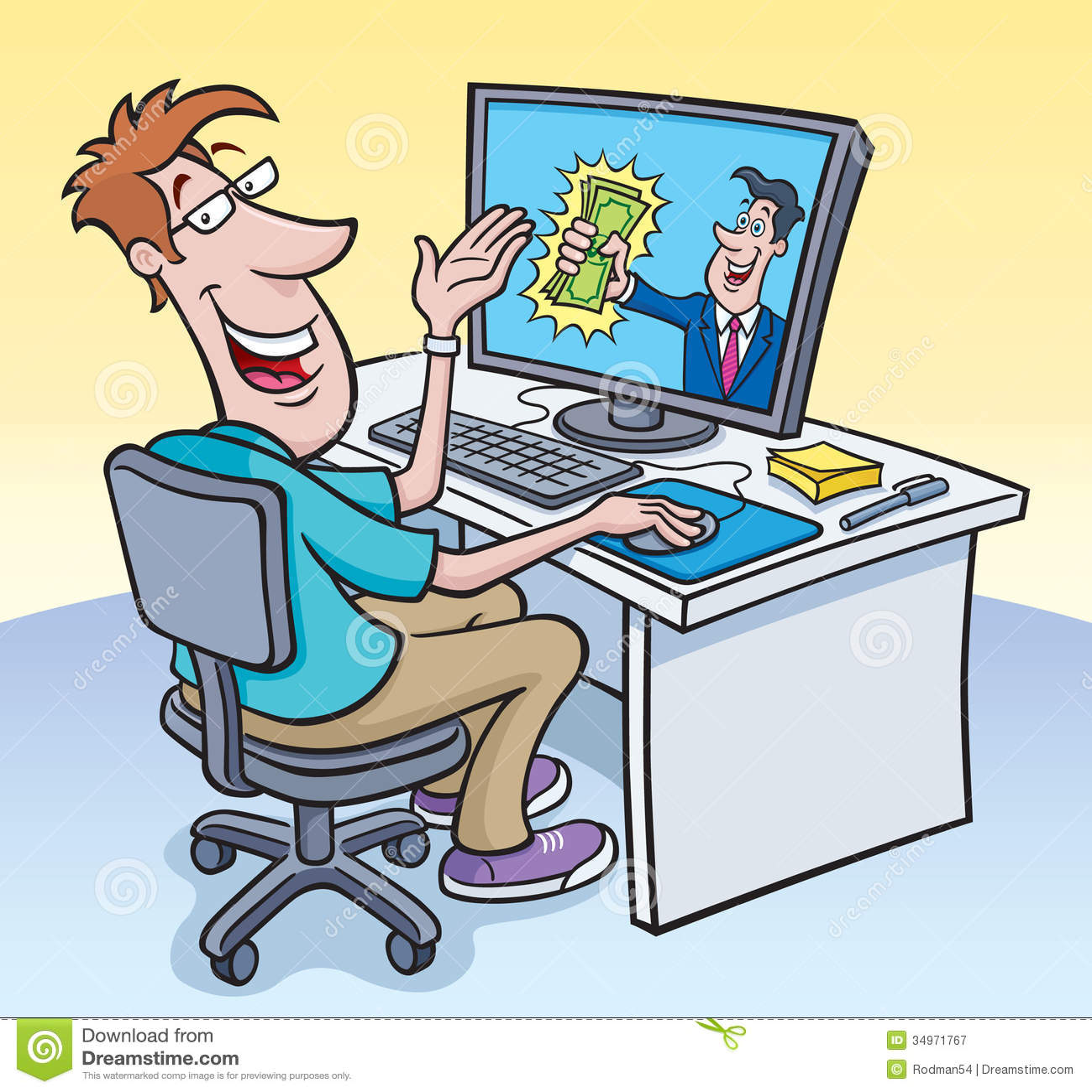 Computer Guy Receiving Cash