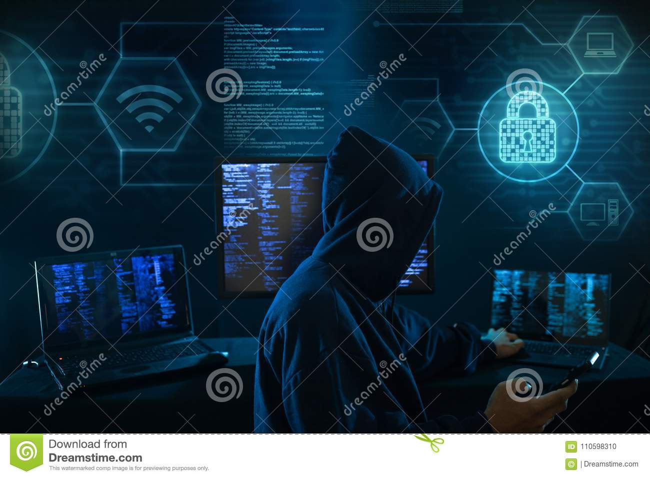 Computer hacker - Internet crime concept with digital interface around