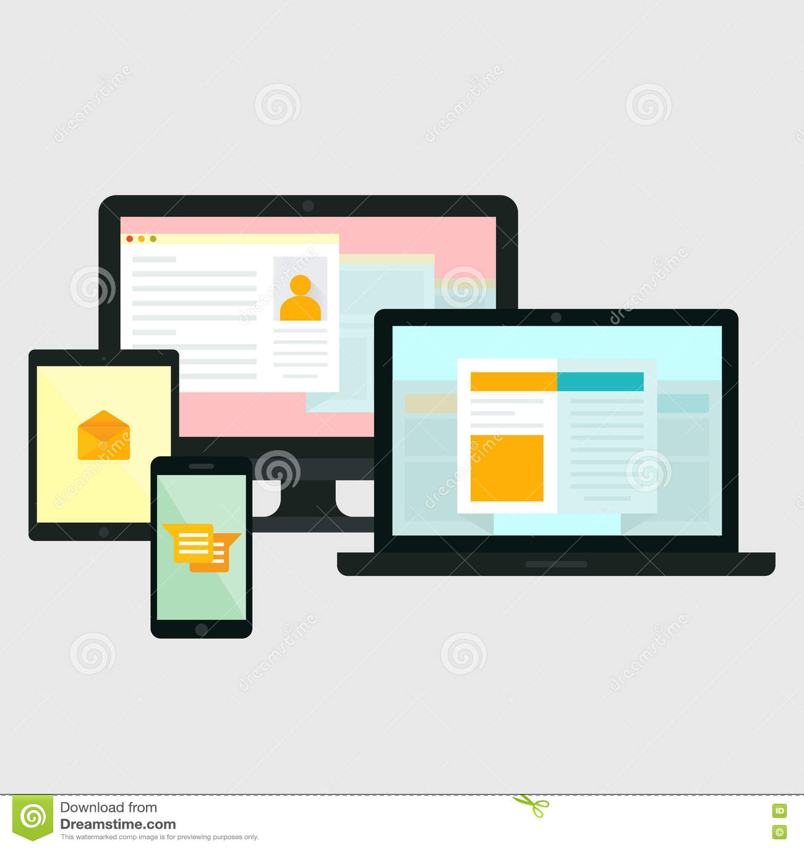 Computer, Handy, Tablet, Laptop-Ikonen Vektor Abbildung ...