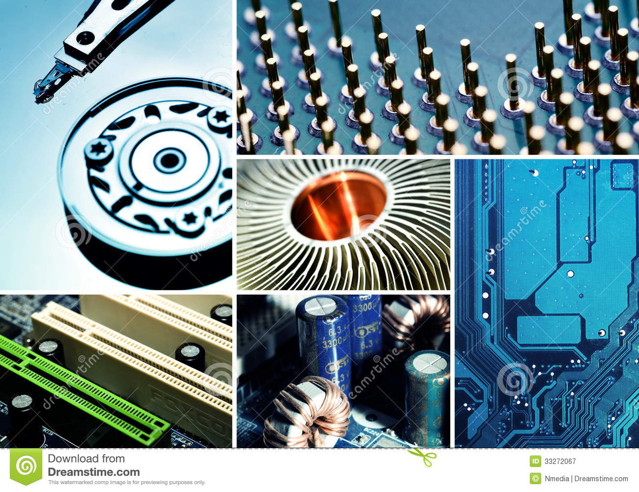 Computer Hardware Collage Royalty Free Stock Photography