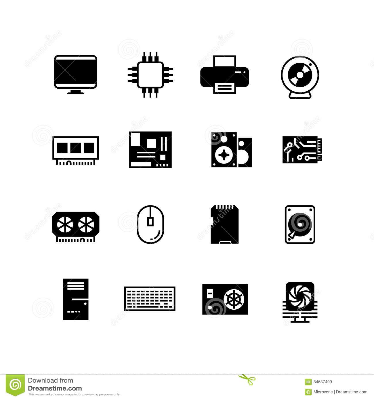 computer hardware hdd memory ram microchip cpu vector icons stock vector illustration of desktop drive 84637499 dreamstime com