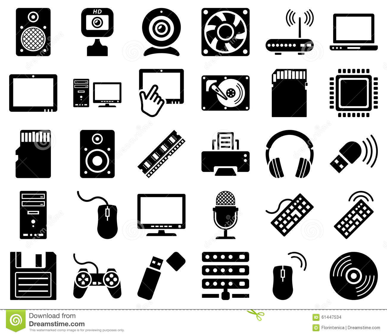 Computer Hardware Icon Set Stock Vector - Image: 61447534