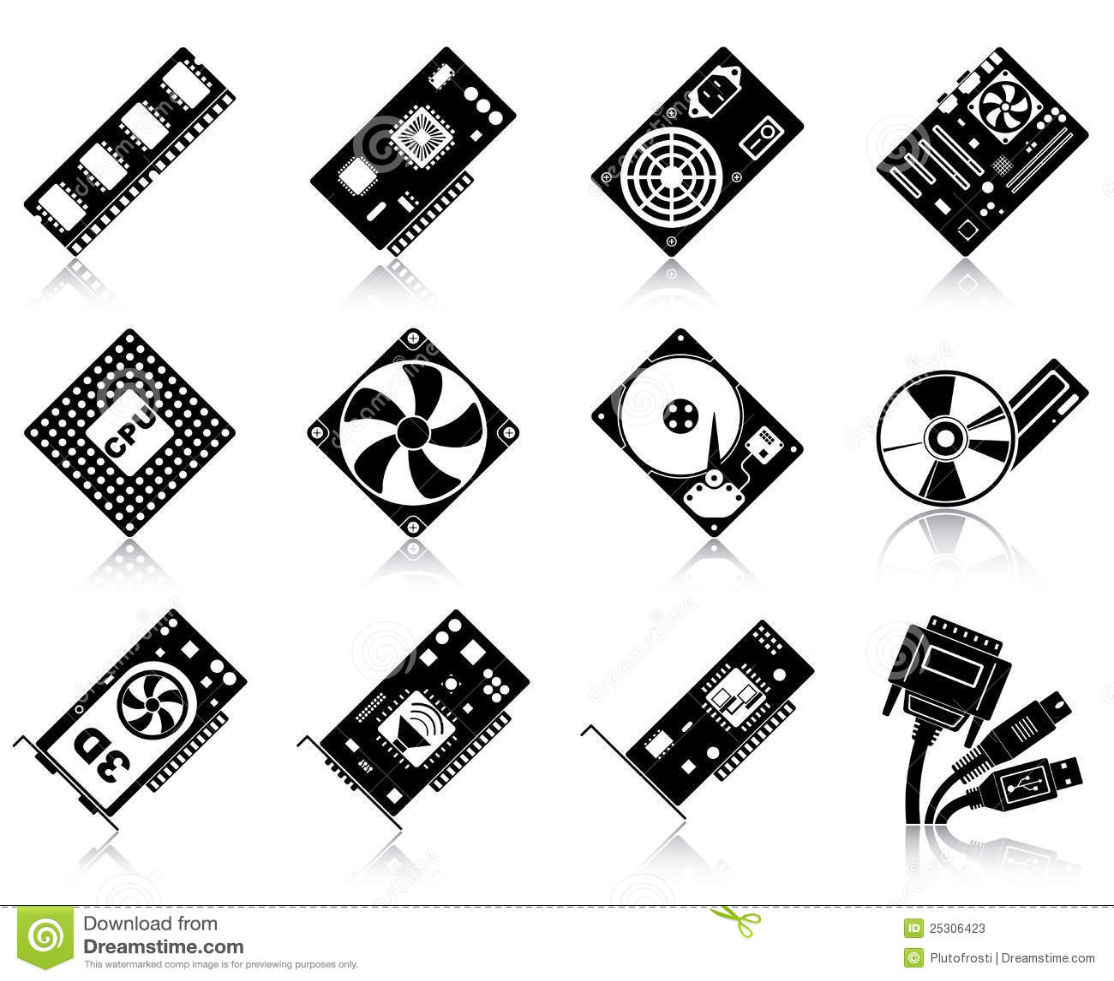 Computer hardware icons Stock  Hardware