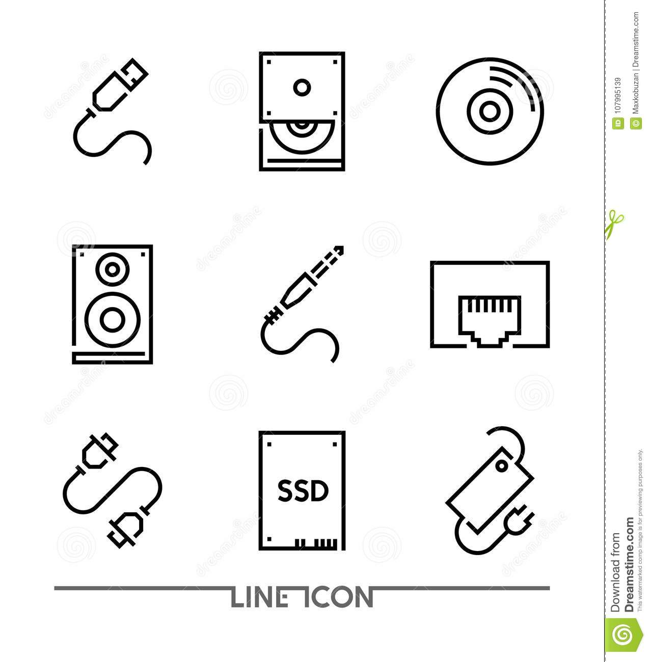 Computer Hardware Icons; PC Upgrading thin line vector