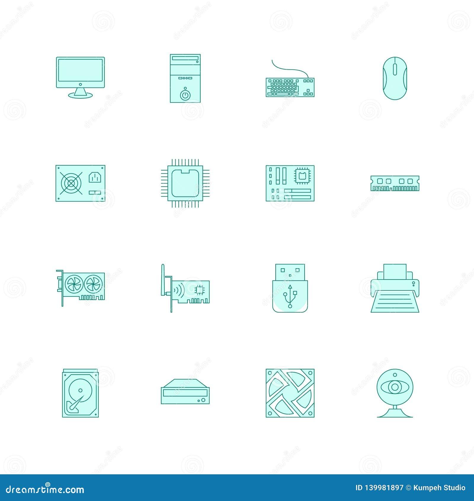Computer hardware icons set filled outline or line style vector illustration