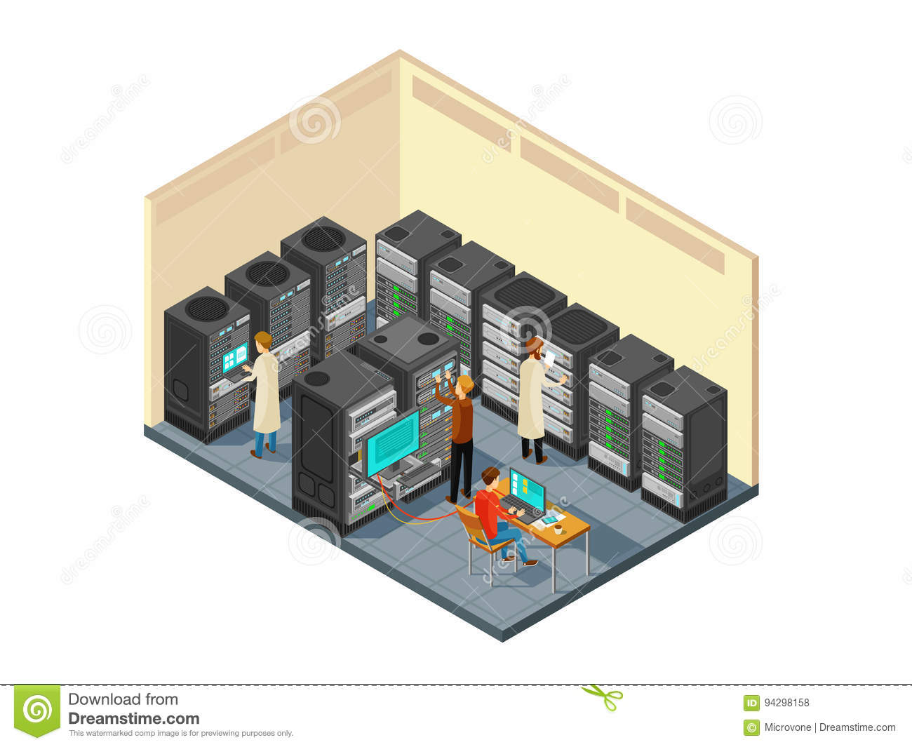 Computer hardware in network server room with staff. Isometric security center vector illustration