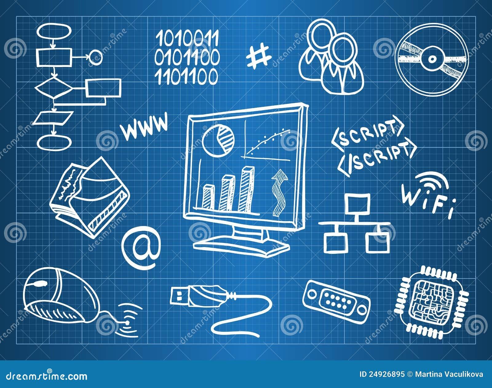 Computer hardware and IT symbols
