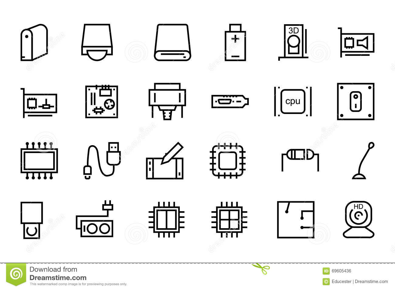 computer hardware vector line icons 3 stock illustration