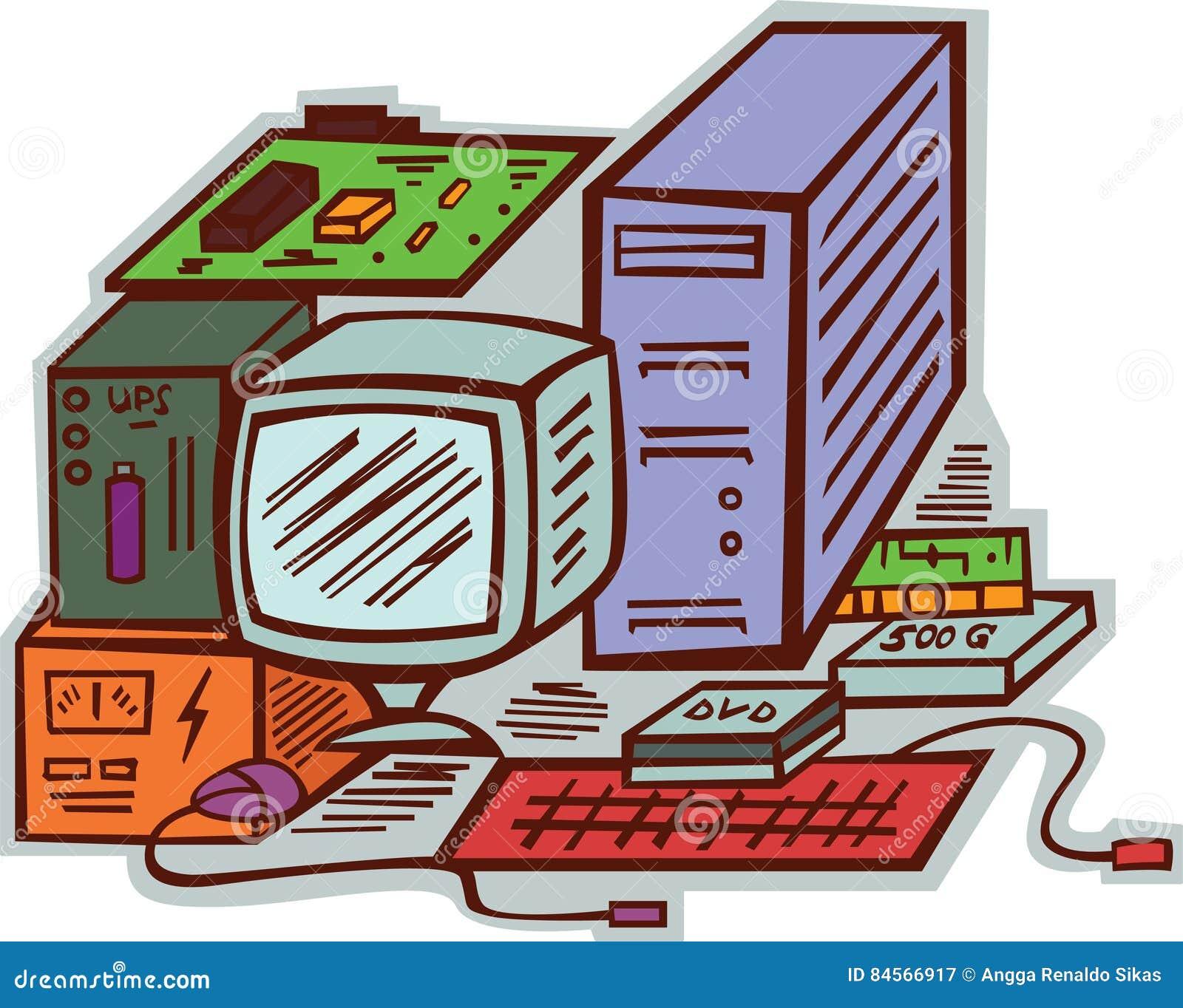 Computer Hardwares Components And Accessories Cartoon Illustrati Basic Parts Diagram