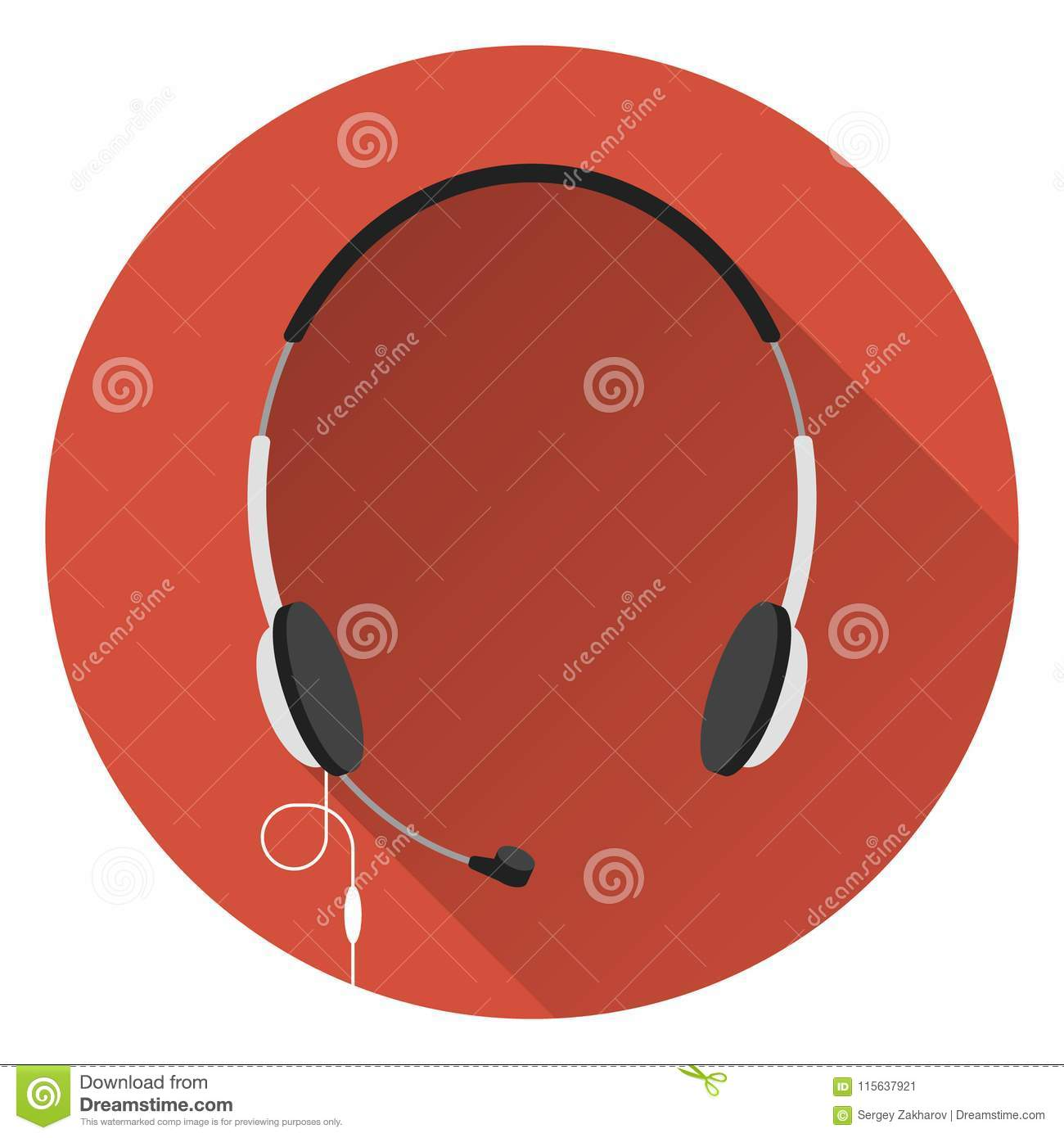 Computer headphones with microphone, orange background, flat style, icon.