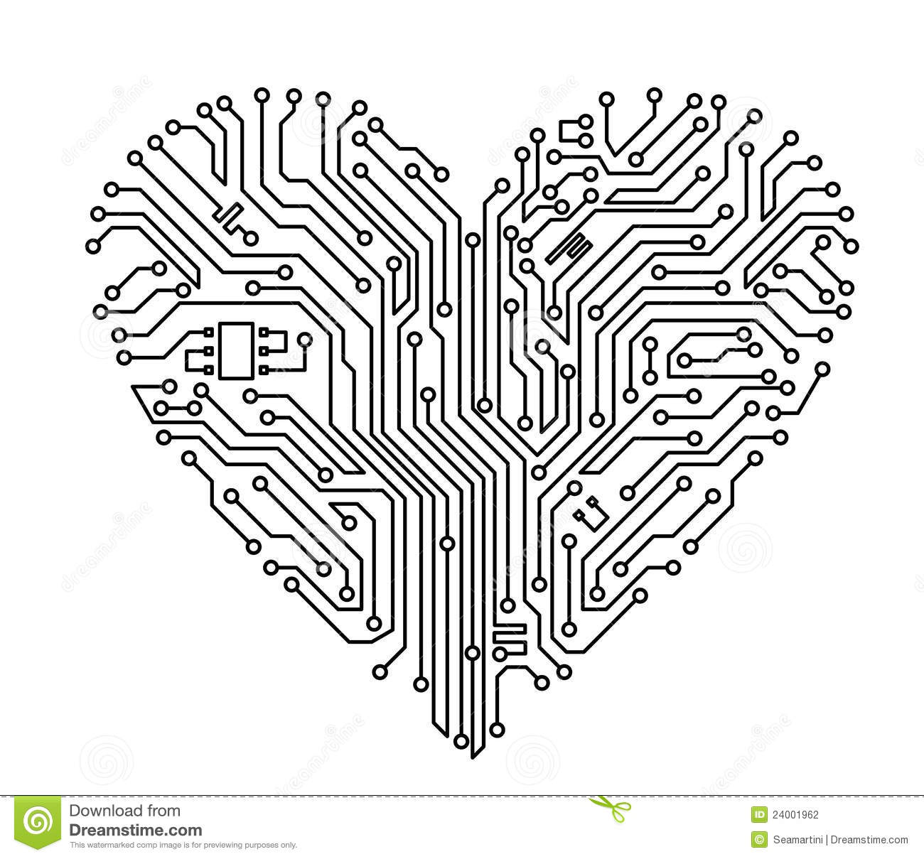 computer heart stock vector  illustration of board