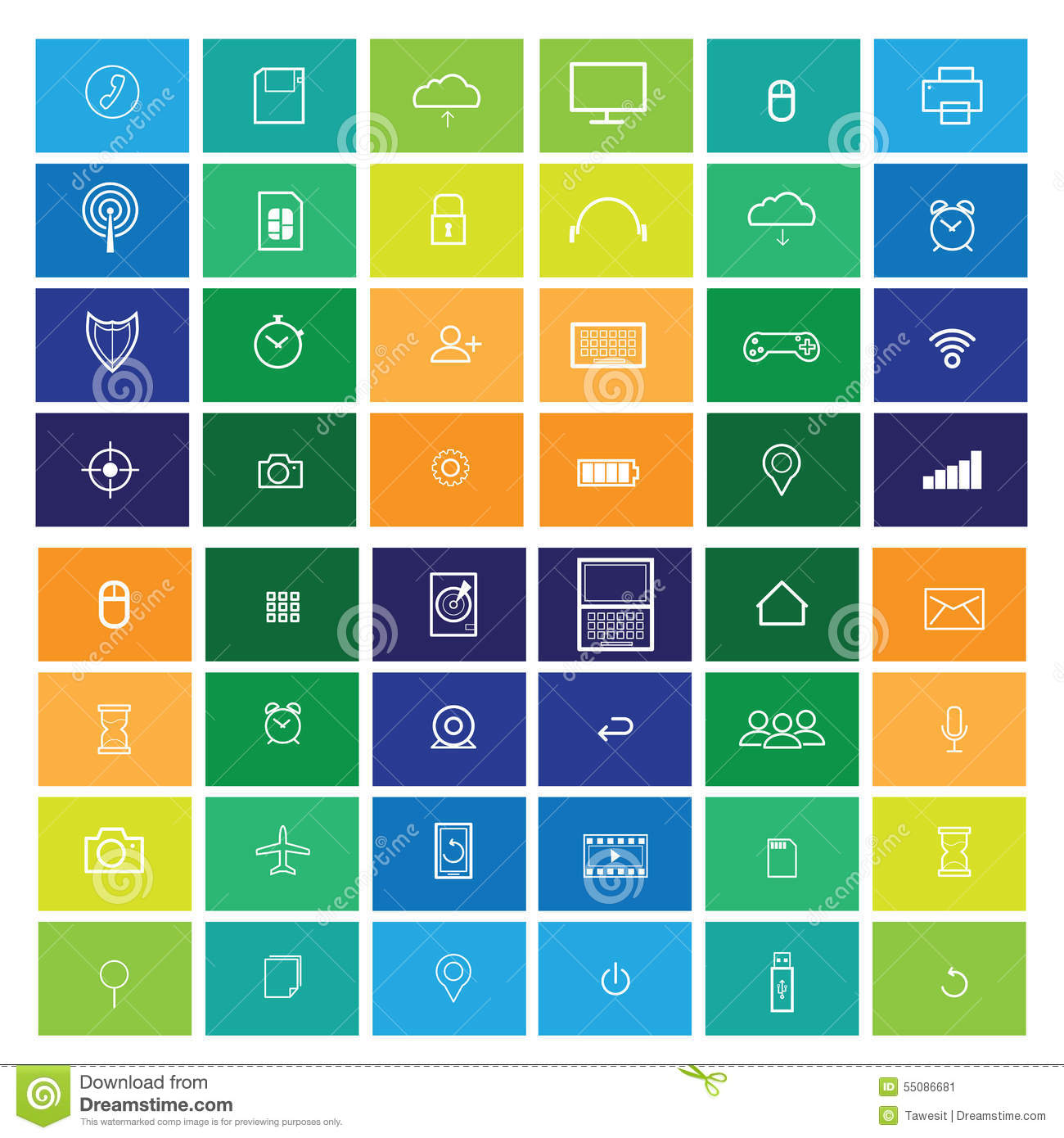 Computer Icons Flat Line Windows Stock Vector - Illustration of