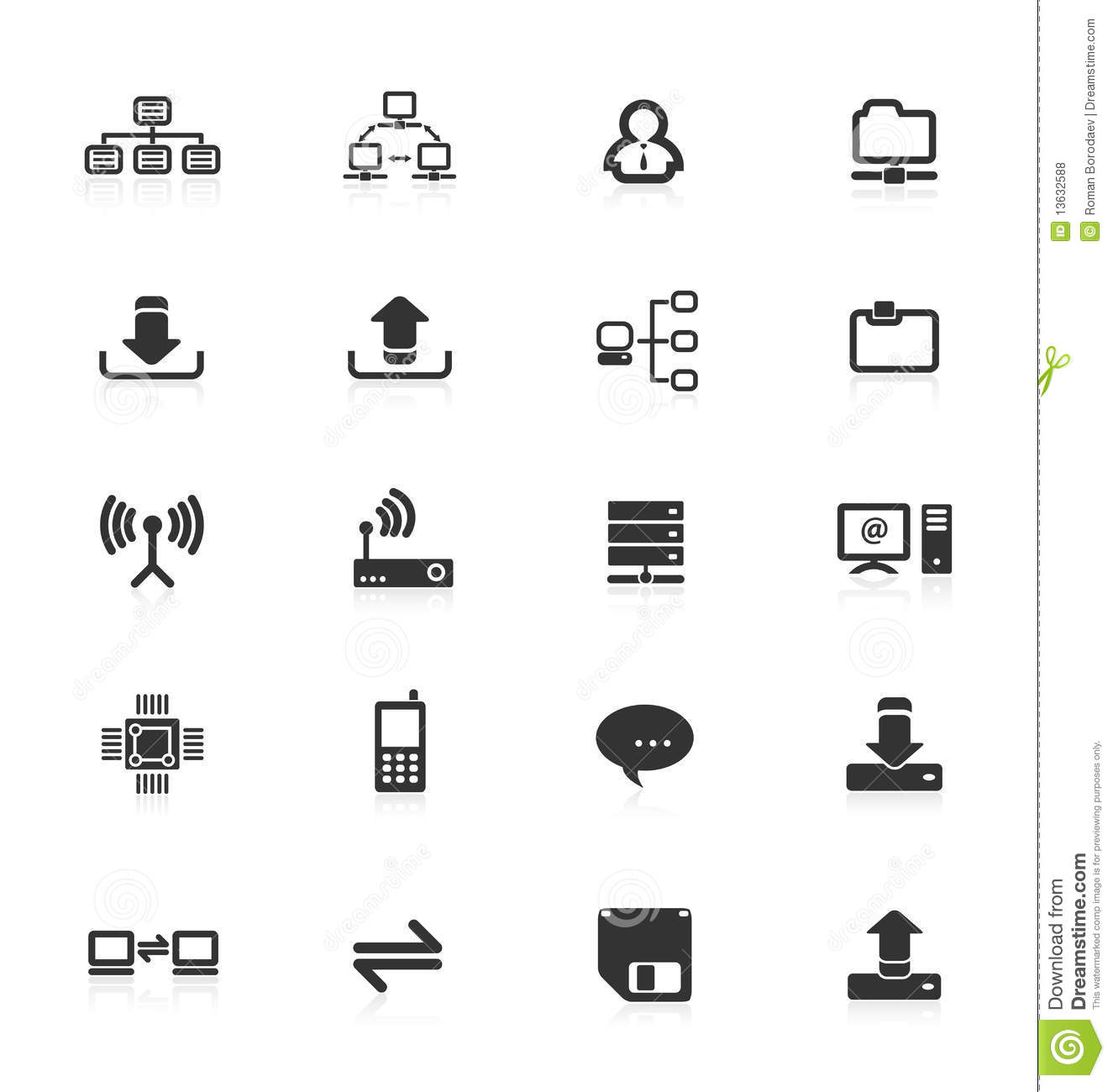 Computer server equipment mobile phone icons icon upload download files folder file CPU storage router technology web internet set