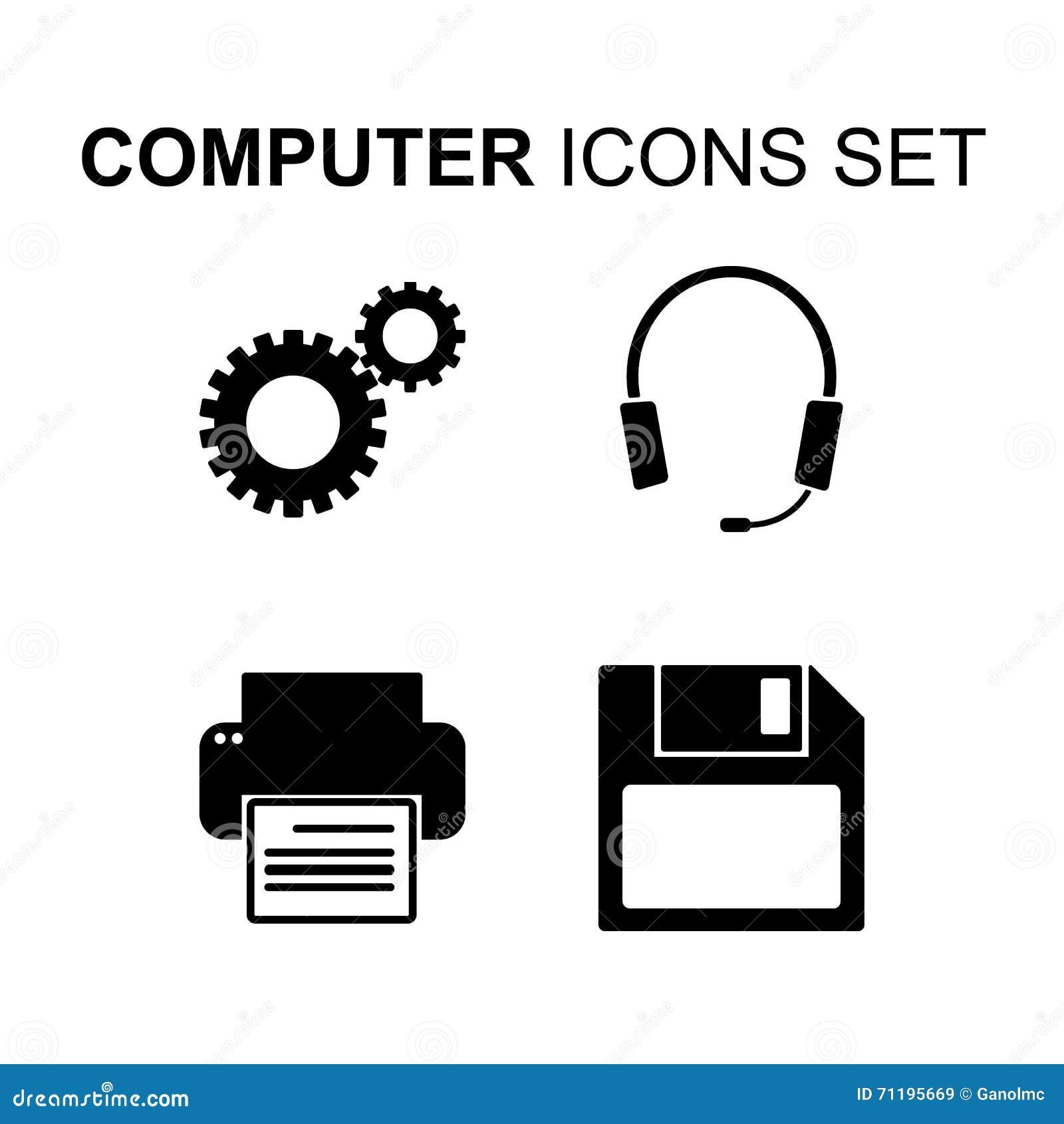 Computer Technology Vector Symbols Or Icons Set Cartoon ...  Computer Techno...