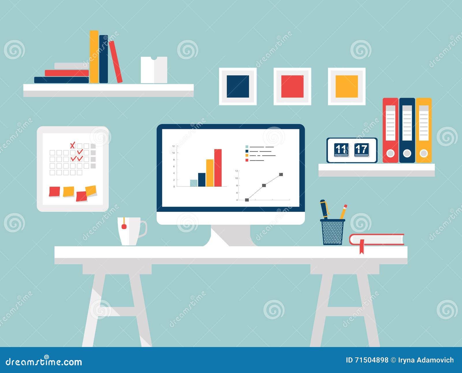 Computer Im Weissen Hintergrund Flache Designvektorillustration Des