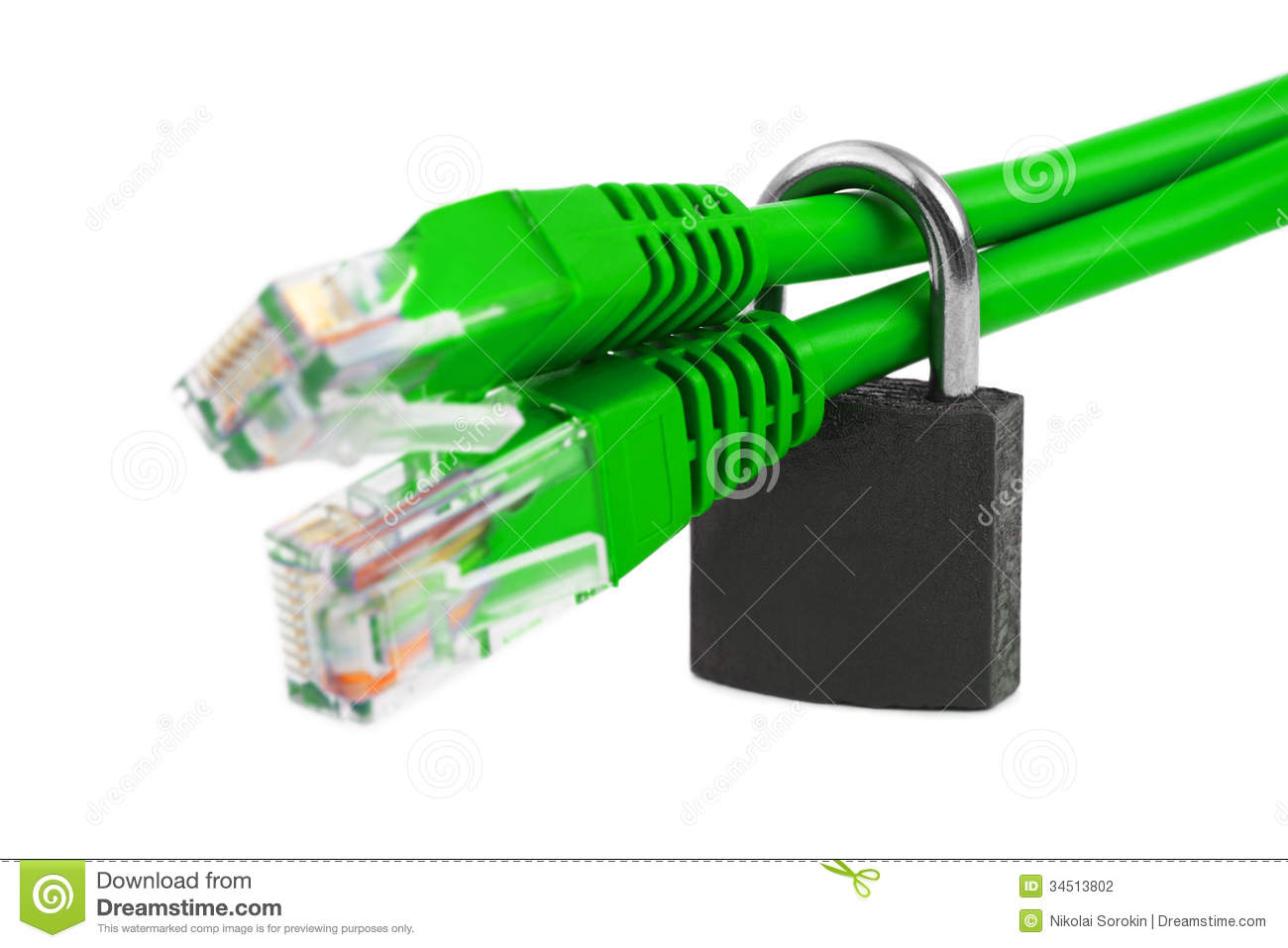 Computer Internet Cable And Lock Stock Photography - Image: 34513802
