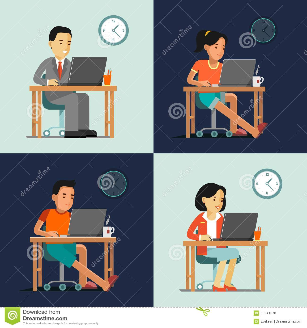 Computer Internet Work Concept With People In Office And