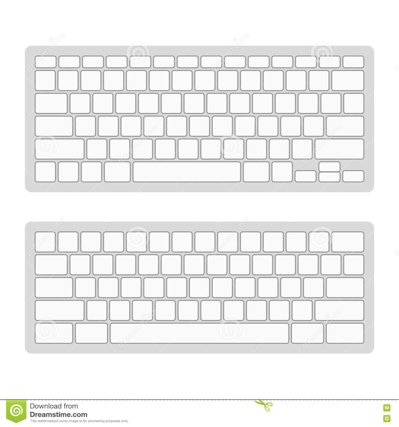 Computer keyboard blank template set vector stock vector for Blank keyboard template printable